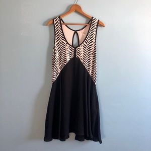 Free People zebra print rayon baby doll mini dress
